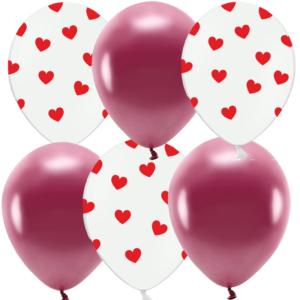 BALONKY MIX bordo hearts 6 ks