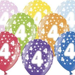 PartyDeco Balónek s číslem 4 narozeninový
