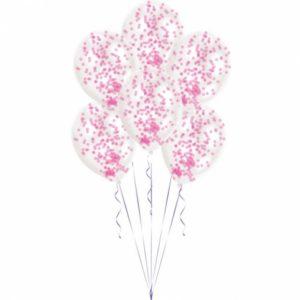 Amscan Balónky latexové růžové - konfetové 6 ks