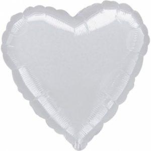 Amscan Fóliový balónek Srdce stříbrné