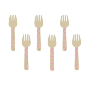 Amscan Mini dřevěné vidličky - růžové 12 ks