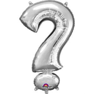 Amscan Mini fóliový balónek symbol ? 33 cm stříbrný