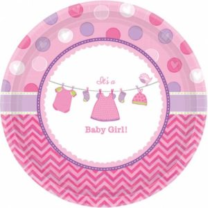 Amscan Talíře Baby Girl 8 ks
