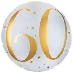 BALÓN fóliový kulatý bílý se zlatou číslicí 60