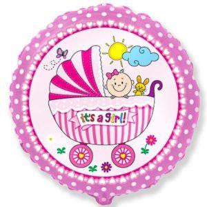"""BALÓNEK fóliový 18"""" kulatý růžový holčička v kočárku"""
