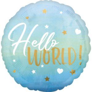 BALÓNEK fóliový Hello world modrý 40 cm