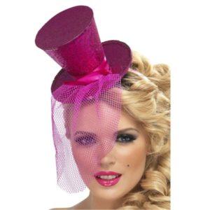 Čelenka s kloboučkem a závojem růžová