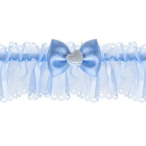 PartyDeco Svatební podvazek šifonový se srdíčkem světle modrý