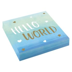 UBROUSKY Hello world modré 33x33 cm 16ks
