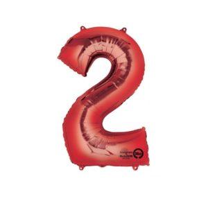 Amscan Balónek fóliový narozeninové číslo 2 - červený 86 cm