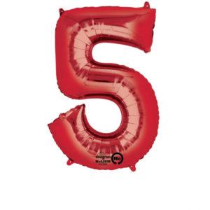 Amscan Balónek fóliový narozeninové číslo 5 - červený 86 cm