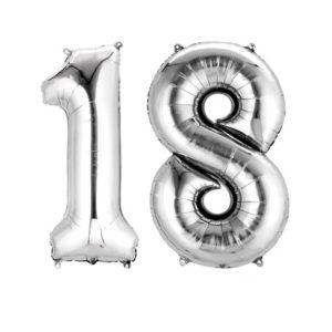 Amscan Fóliový balón ve tvaru čísla 18 stříbrný