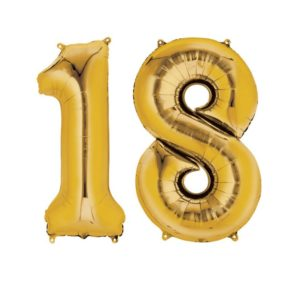 Amscan Fóliový balón ve tvaru čísla 18 zlatý