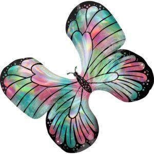 Amscan Fóliový balonek holografický motýl 76 x 66 cm