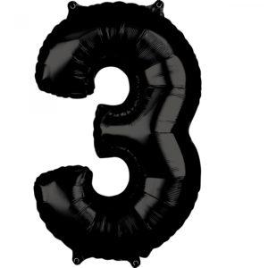 Amscan Fóliový balónek narozeninové číslo 3 černý 66cm