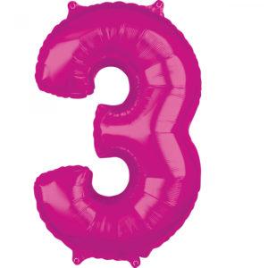 Amscan Fóliový balónek narozeninové číslo 3 růžový 66cm
