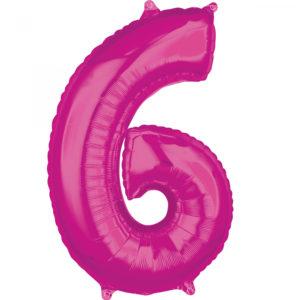 Amscan Fóliový balónek narozeninové číslo 6 růžový 66cm