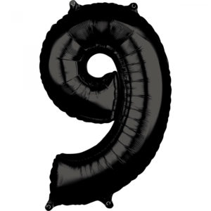Amscan Fóliový balónek narozeninové číslo 9 černý 66cm