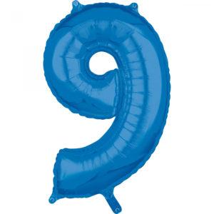 Amscan Fóliový balónek narozeninové číslo 9 modrý 66cm