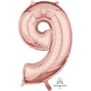 Amscan Fóliový balónek narozeninové číslo 9 růžovo-zlatý 66cm