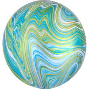 Amscan Kulatý fóliový balón - mramorový modrozelený