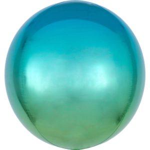 Amscan Ombre modro-zelený fóliový balonek - koule