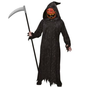 Amscan Pánský kostým - Smrtka s hlavou dýně Velikost - dospělý: L