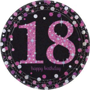 Amscan Talíře 18. narozeniny růžové třpytivé