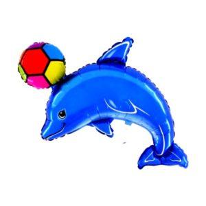 BP Fóliový balón - delfín s míčem (modrý)