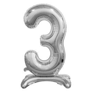 Godan Samostojící fóliový balón 3 stříbrný 74 cm