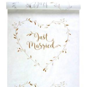 KOBEREC se zlatým nápisem Just Married