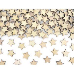 KONFETY Hvězdy dřevěné 2x2cm 50ks
