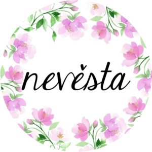 PLACKA Nevěsta s růžovými květy  průměr 5