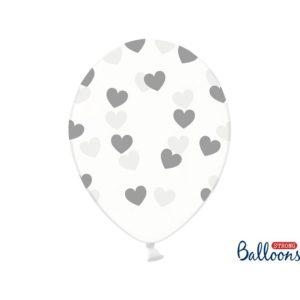 PartyDeco Balónek - Průsvitný se stříbrnými srdíčky