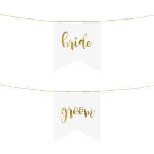 PartyDeco Dekorace na židli - ženich a nevěsta