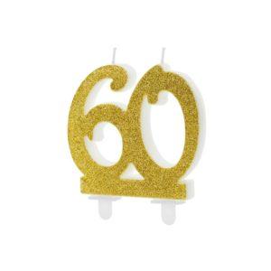 PartyDeco Dortová svíčka - zlatá 60