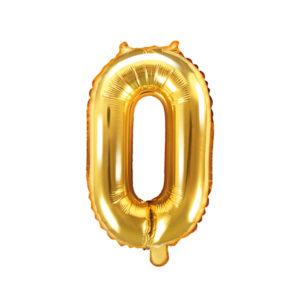 PartyDeco Fóliový balónek Mini - Číslo 0 zlatý 35cm