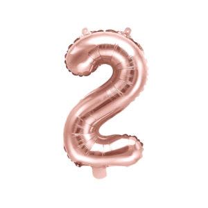 PartyDeco Fóliový balónek Mini - Číslo 2 růžovo-zlatý 35cm