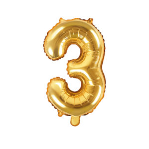PartyDeco Fóliový balónek Mini - Číslo 3 zlatý 35cm