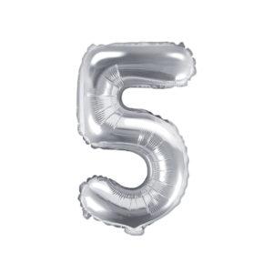 PartyDeco Fóliový balónek Mini - Číslo 5 stříbrný 35cm
