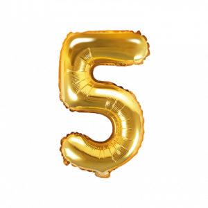 PartyDeco Fóliový balónek Mini - Číslo 5 zlatý 35cm