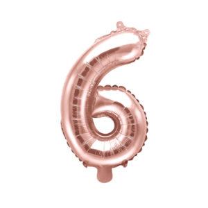 PartyDeco Fóliový balónek Mini - Číslo 6 růžovo-zlatý 35cm