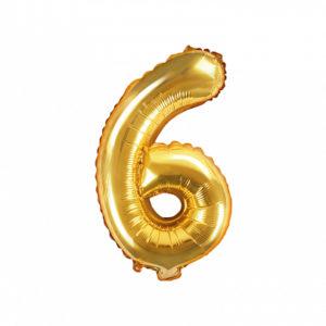PartyDeco Fóliový balónek Mini - Číslo 6 zlatý 35cm