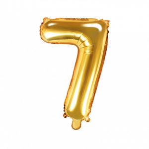 PartyDeco Fóliový balónek Mini - Číslo 7 zlatý 35cm