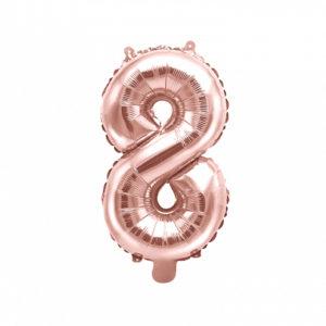 PartyDeco Fóliový balónek Mini - Číslo 8 růžovo-zlatý 35cm
