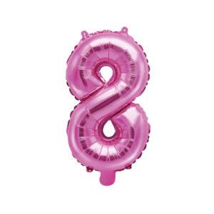 PartyDeco Fóliový balónek Mini - Číslo 8 růžový 35cm