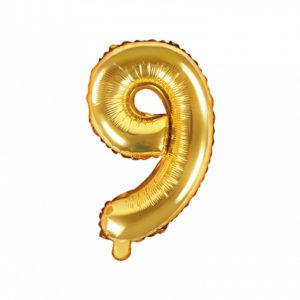 PartyDeco Fóliový balónek Mini - Číslo 9 zlatý 35cm