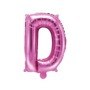 PartyDeco Fóliový balónek Mini - Písmeno D 35cm růžový