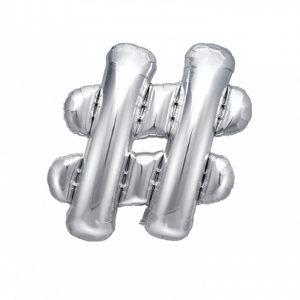 PartyDeco Fóliový balónek Mini - Symbol # stříbrný 35cm