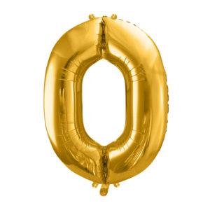 PartyDeco Fóliový balónek narozeninové číslo 0 zlatý 86cm